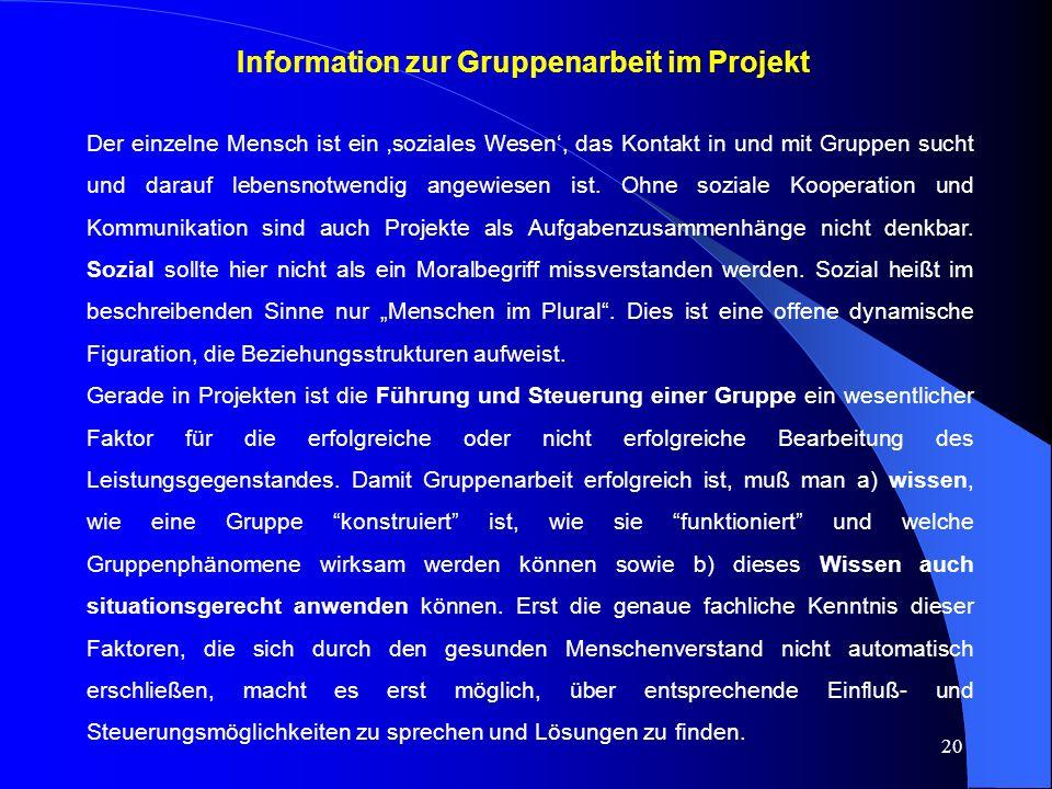 Information zur Gruppenarbeit im Projekt