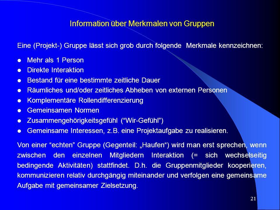 Information über Merkmalen von Gruppen