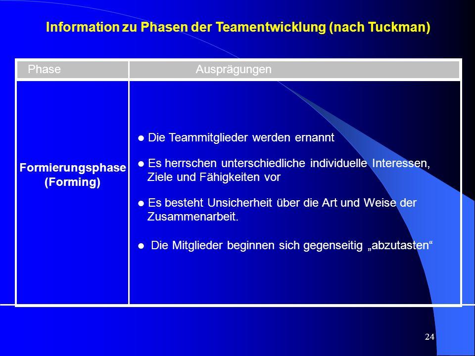 Information zu Phasen der Teamentwicklung (nach Tuckman)