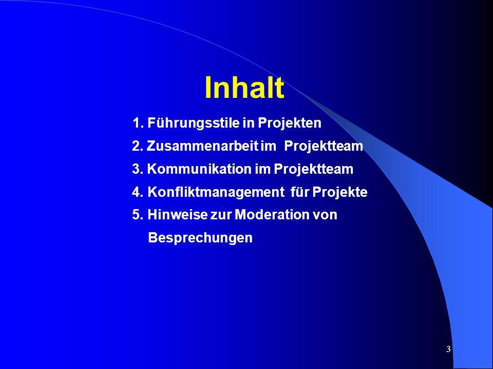1. Führungsstile in Projekten 2. Zusammenarbeit im Projektteam