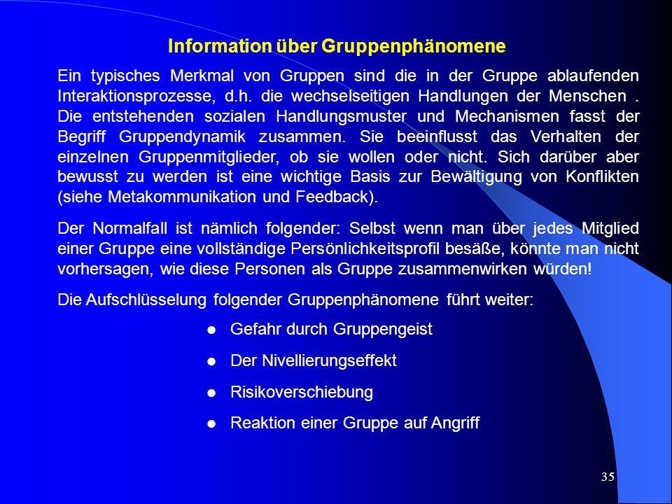 Information über Gruppenphänomene