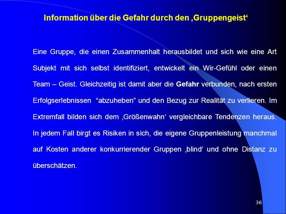 Information über die Gefahr durch den 'Gruppengeist'