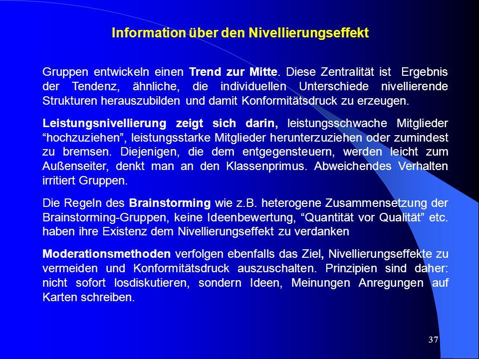 Information über den Nivellierungseffekt