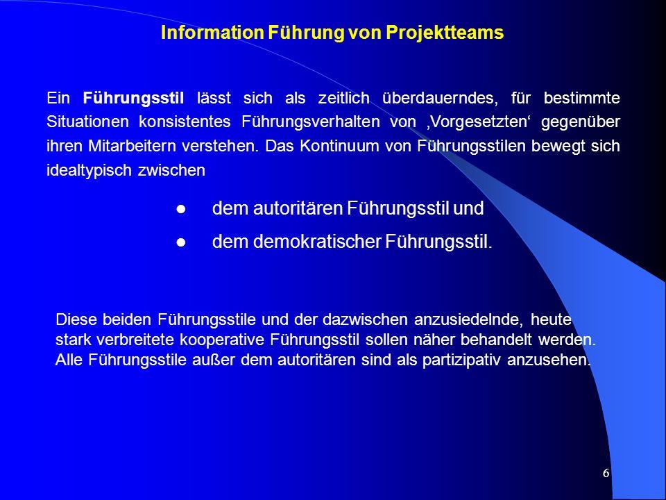 Information Führung von Projektteams