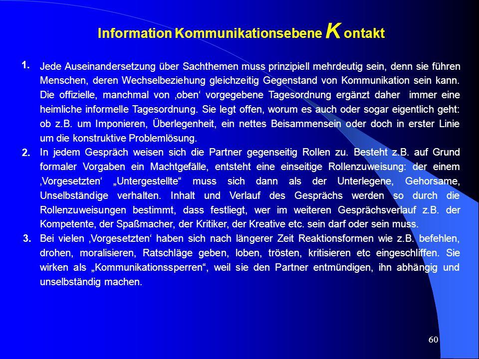 Information Kommunikationsebene K ontakt