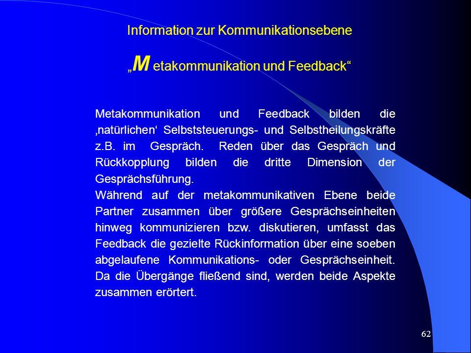 """Information zur Kommunikationsebene """"M etakommunikation und Feedback"""