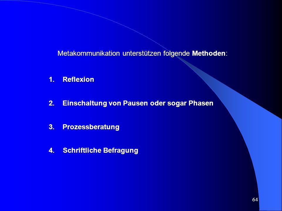 Metakommunikation unterstützen folgende Methoden:
