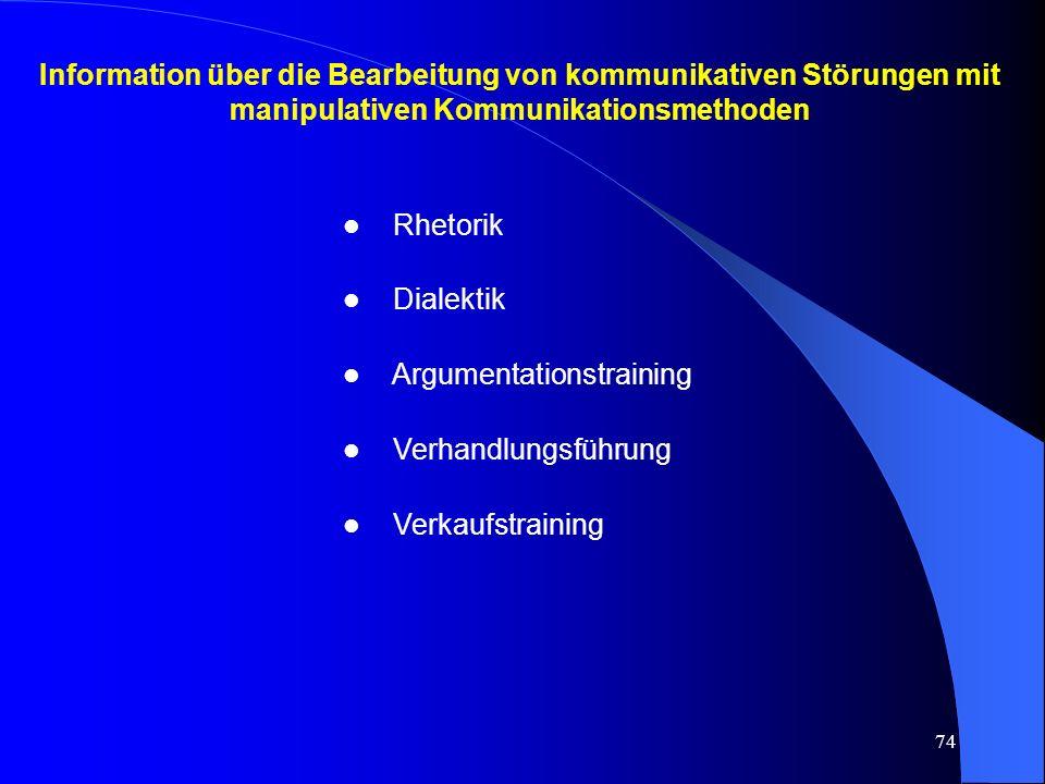 Information über die Bearbeitung von kommunikativen Störungen mit manipulativen Kommunikationsmethoden