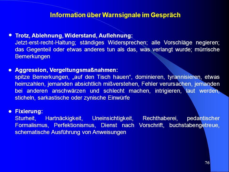 Information über Warnsignale im Gespräch