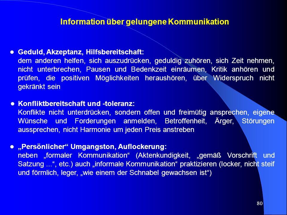 Information über gelungene Kommunikation