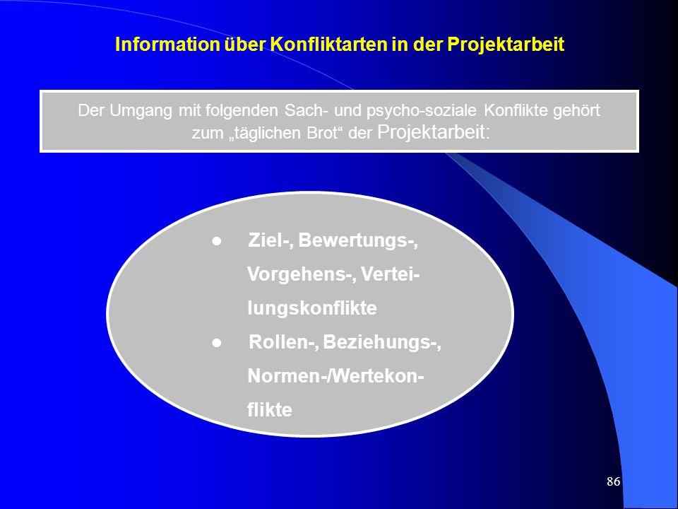 Information über Konfliktarten in der Projektarbeit