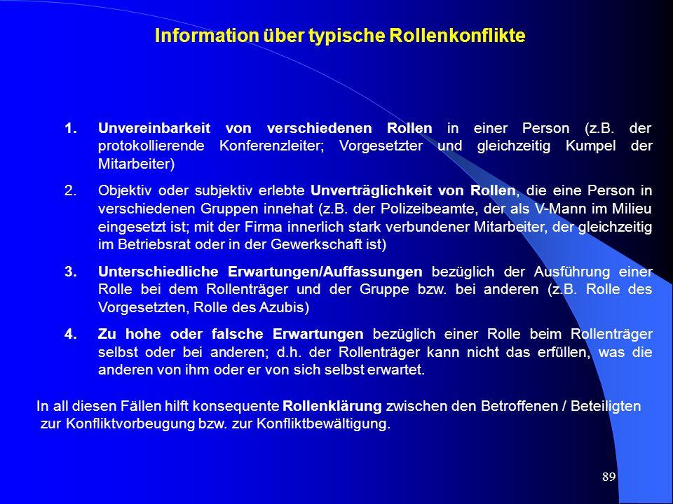 Information über typische Rollenkonflikte