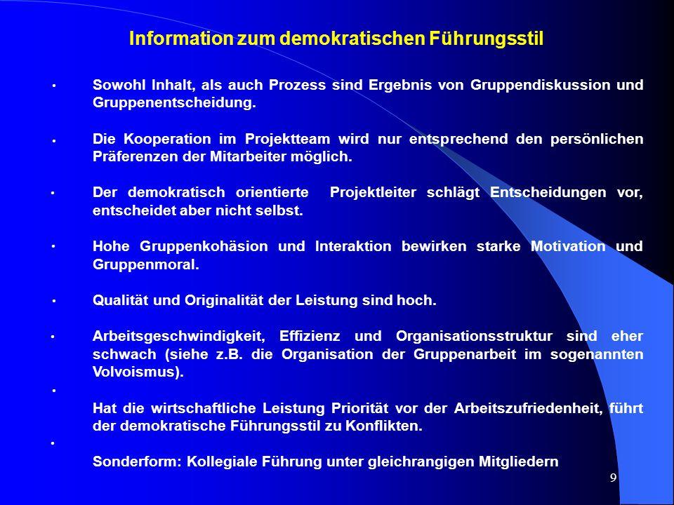 Information zum demokratischen Führungsstil