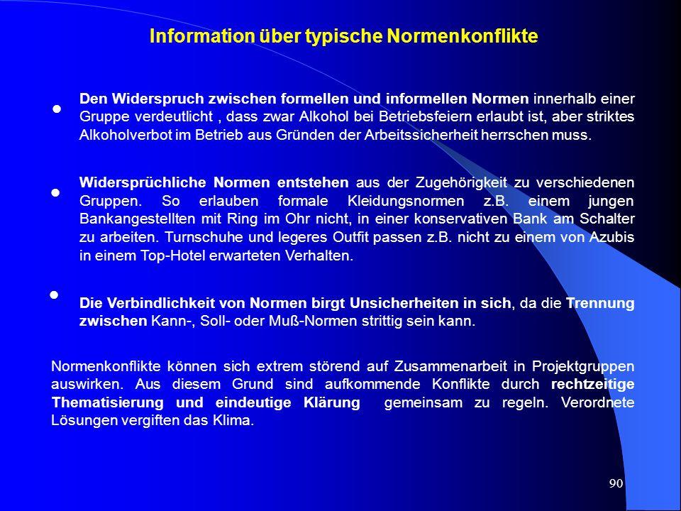 Information über typische Normenkonflikte