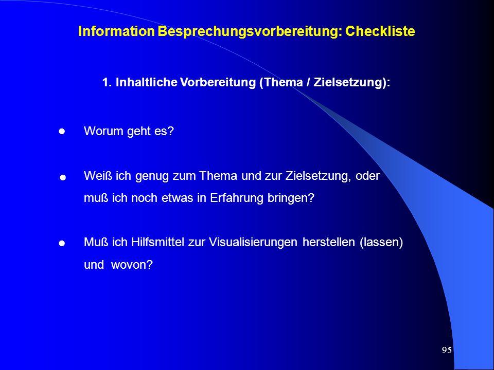 Information Besprechungsvorbereitung: Checkliste