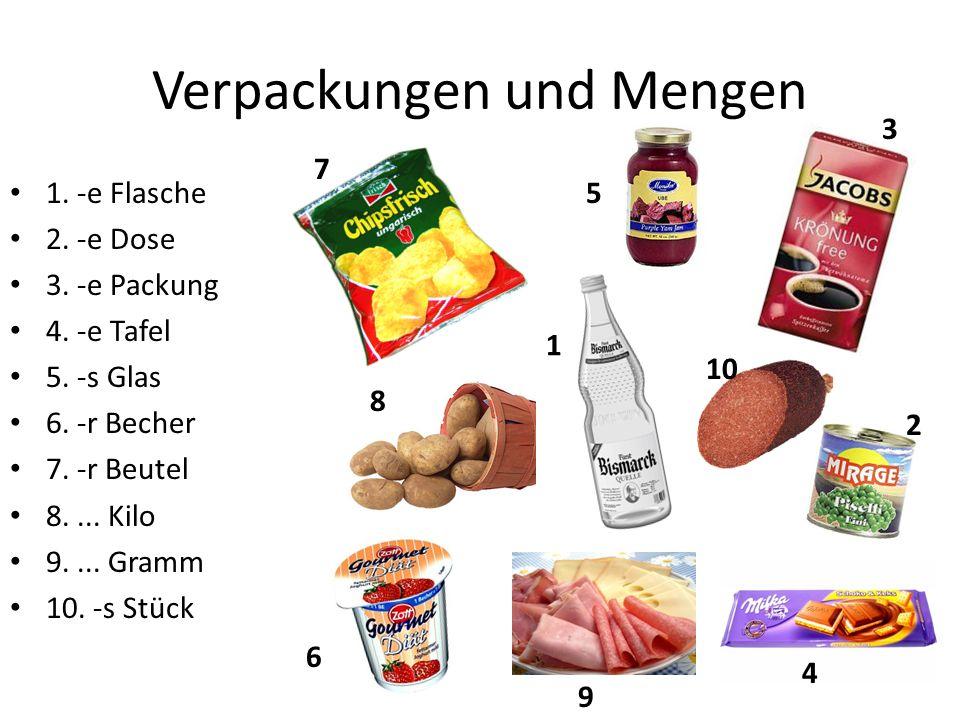 Verpackungen und Mengen