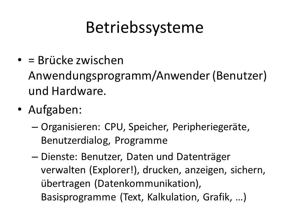 Betriebssysteme = Brücke zwischen Anwendungsprogramm/Anwender (Benutzer) und Hardware. Aufgaben: