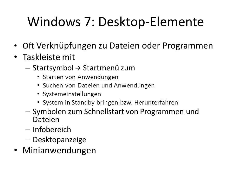 Windows 7: Desktop-Elemente