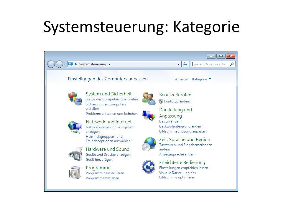 Systemsteuerung: Kategorie