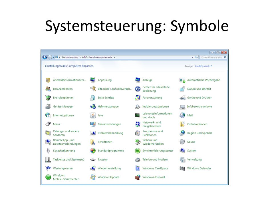 Systemsteuerung: Symbole