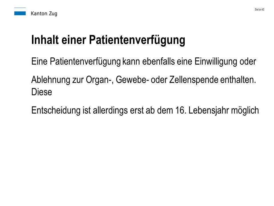 Inhalt einer Patientenverfügung