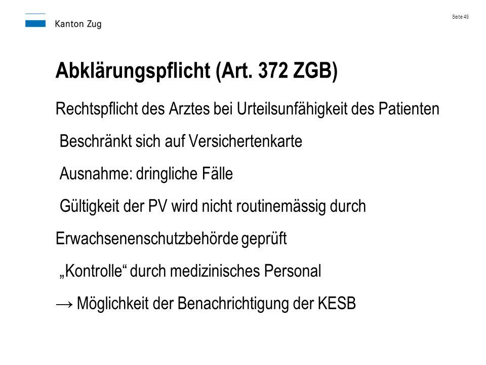 Abklärungspflicht (Art. 372 ZGB)