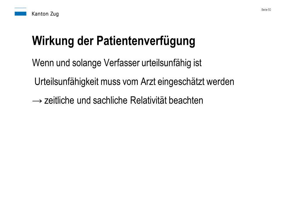 Wirkung der Patientenverfügung