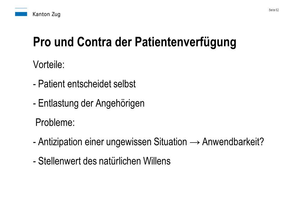 Pro und Contra der Patientenverfügung