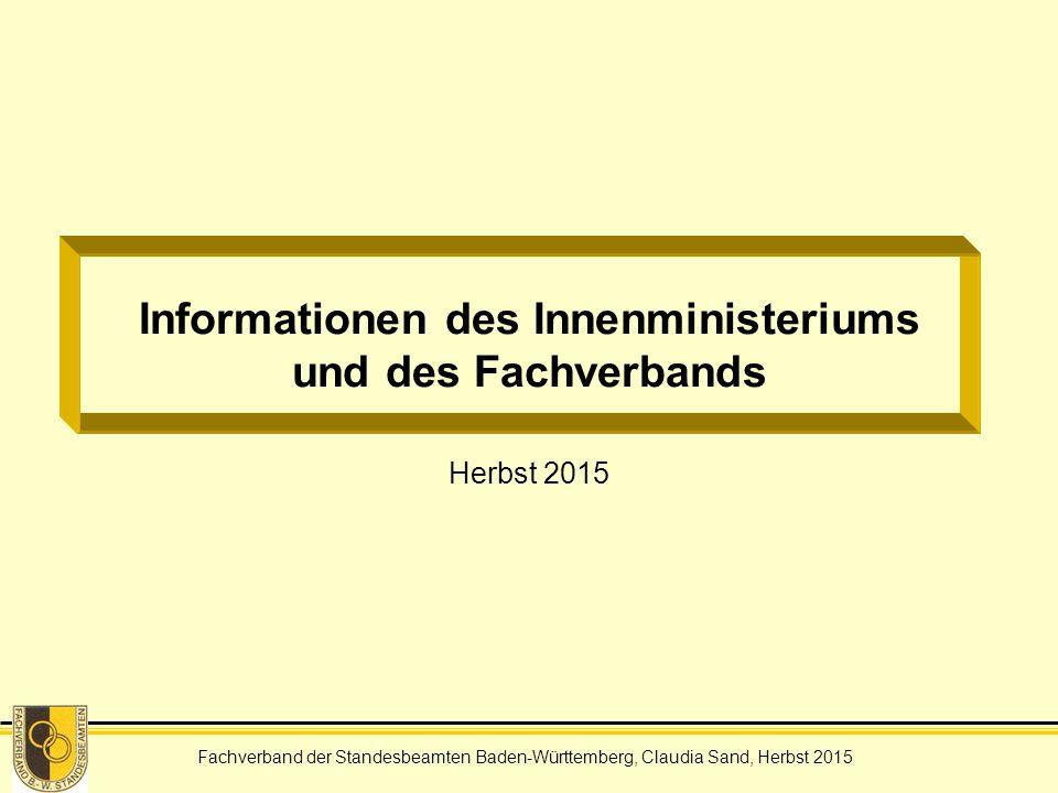 Informationen des Innenministeriums und des Fachverbands