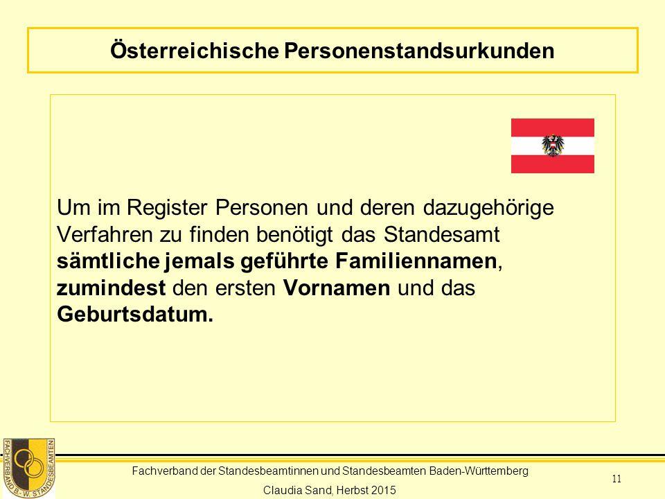Österreichische Personenstandsurkunden