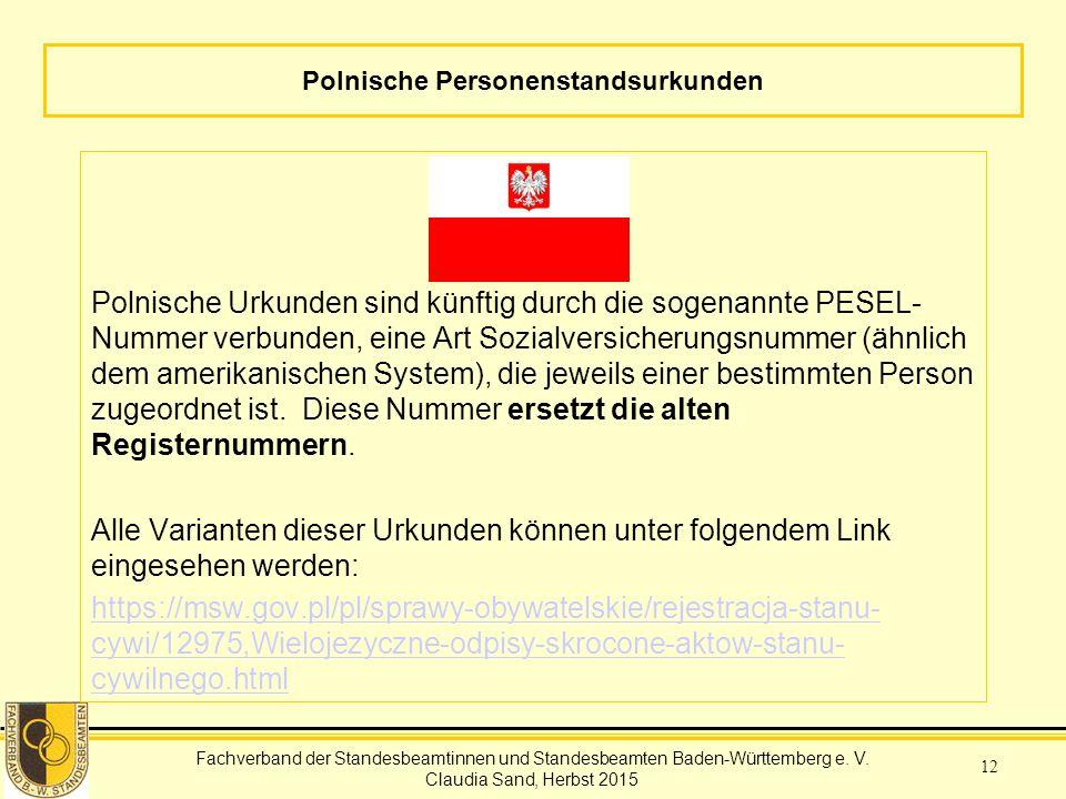 Polnische Personenstandsurkunden