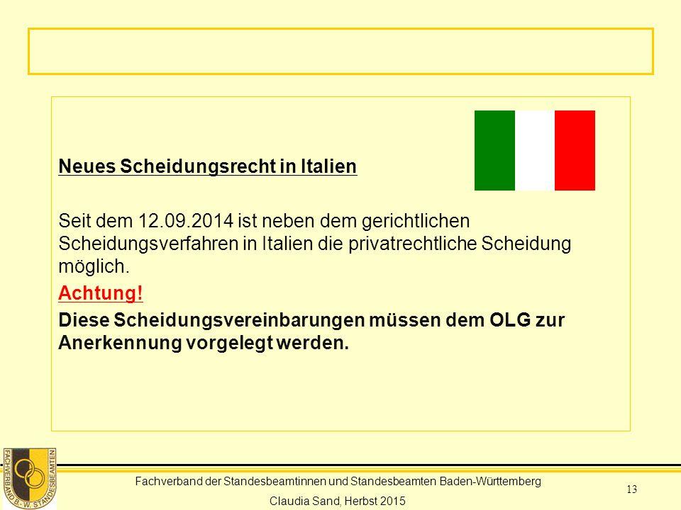 Neues Scheidungsrecht in Italien Seit dem 12. 09