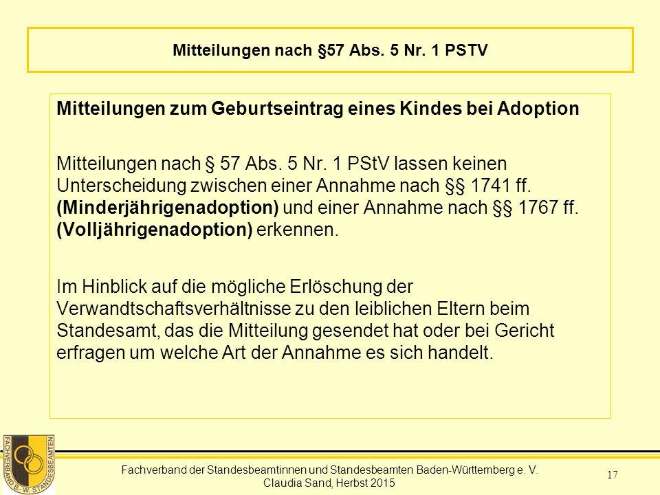 Mitteilungen nach §57 Abs. 5 Nr. 1 PSTV