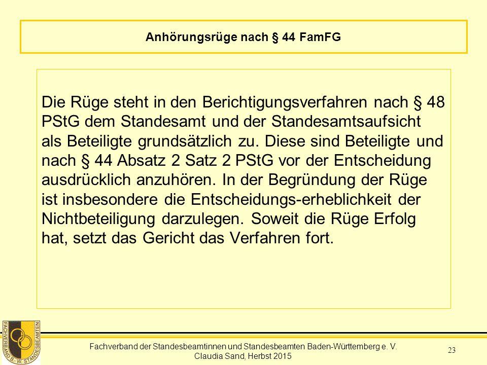 Anhörungsrüge nach § 44 FamFG