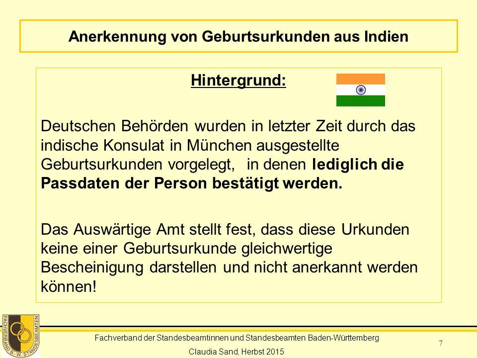 Anerkennung von Geburtsurkunden aus Indien