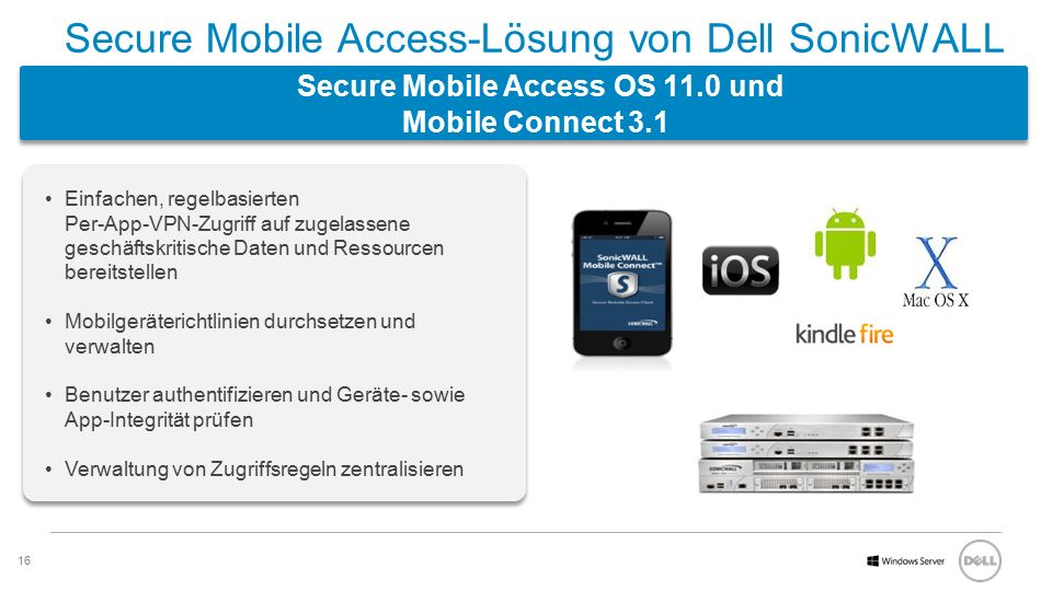 Secure Mobile Access-Lösung von Dell SonicWALL Secure Mobile Access OS 11.0 und Mobile Connect 3.1
