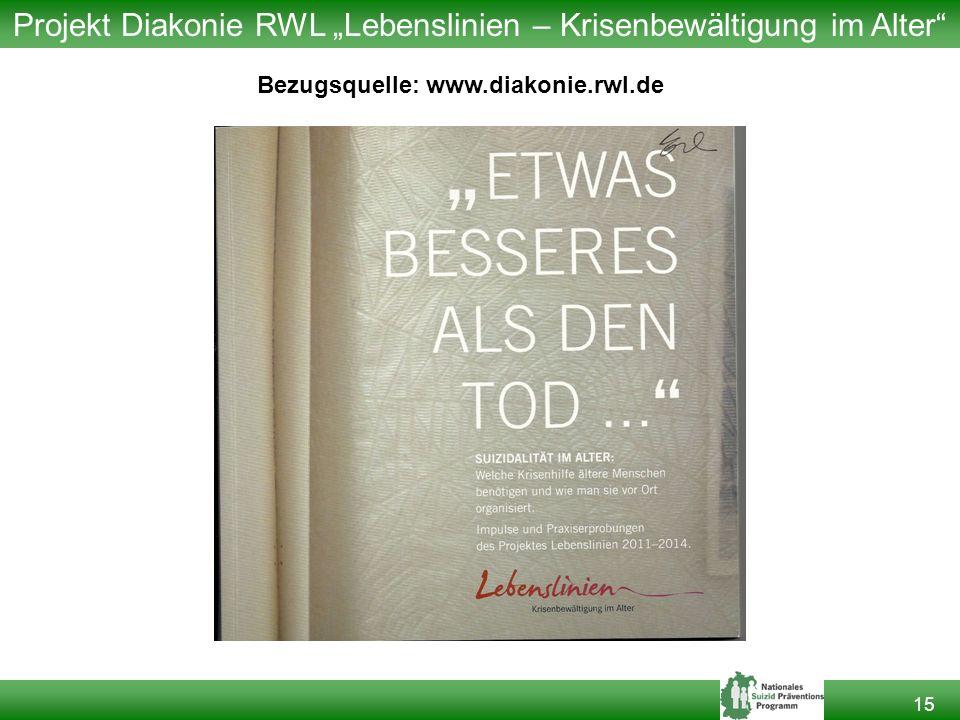 """Projekt Diakonie RWL """"Lebenslinien – Krisenbewältigung im Alter"""