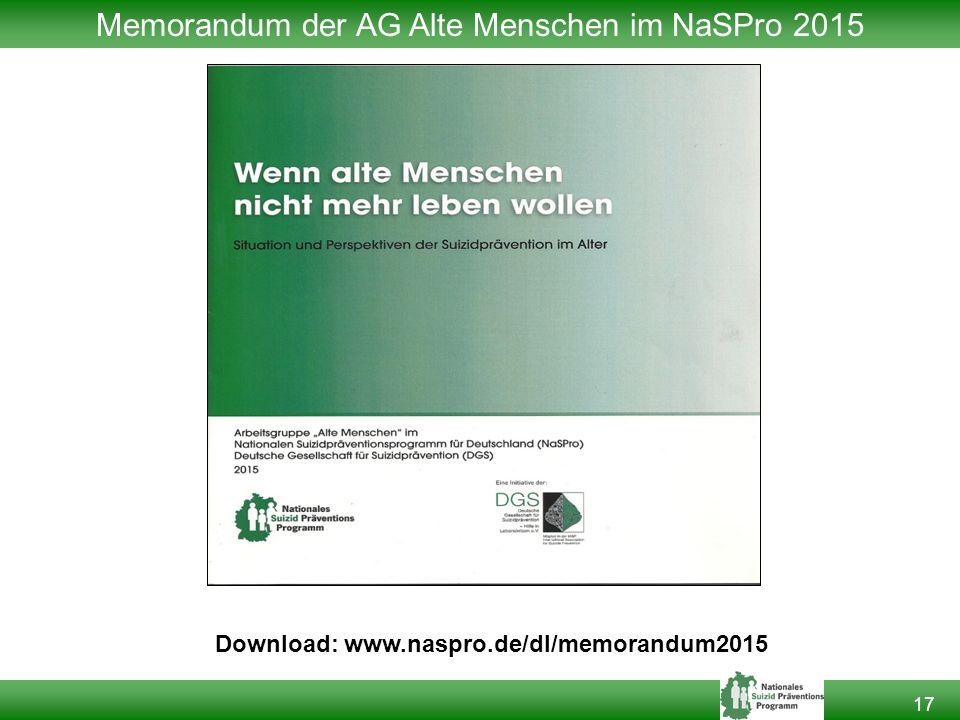 Memorandum der AG Alte Menschen im NaSPro 2015