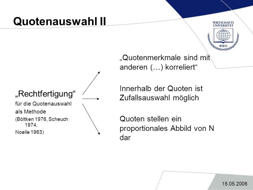 """Quotenauswahl II """"Quotenmerkmale sind mit anderen (…) korreliert"""