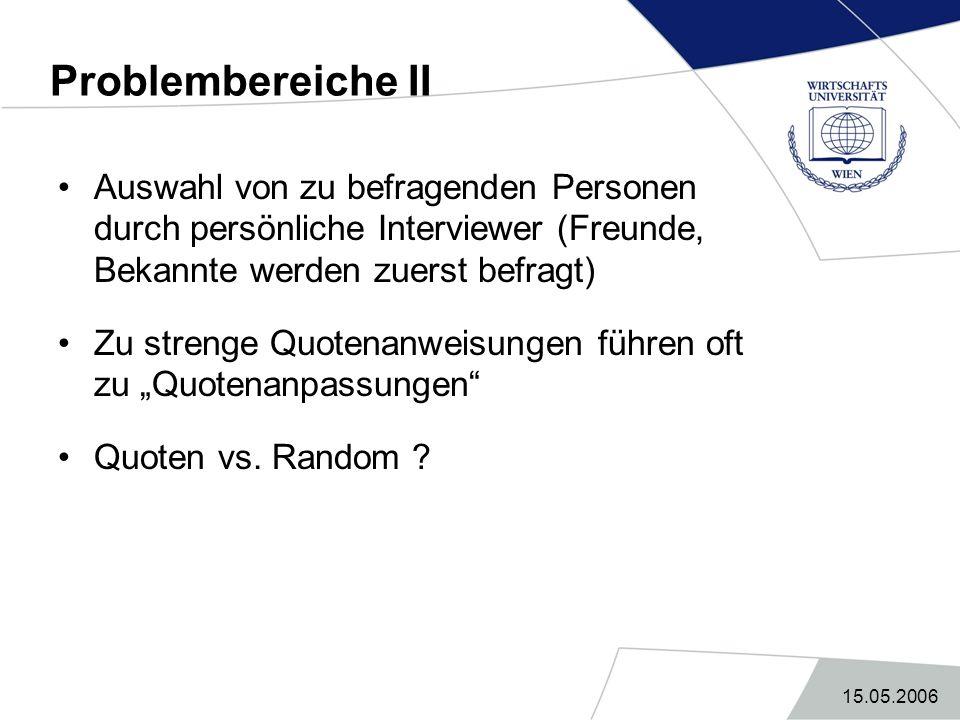 Problembereiche II Auswahl von zu befragenden Personen durch persönliche Interviewer (Freunde, Bekannte werden zuerst befragt)