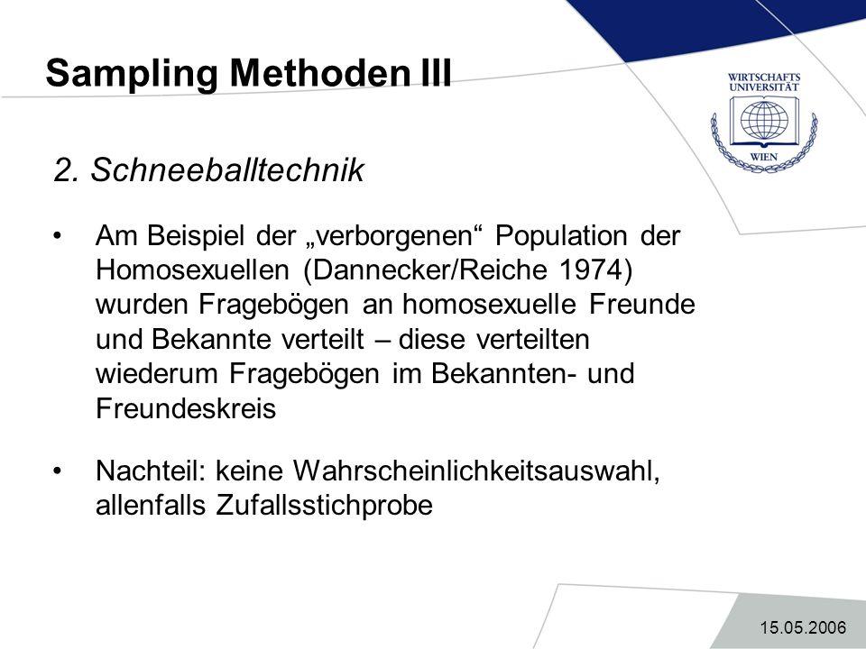 Sampling Methoden III 2. Schneeballtechnik
