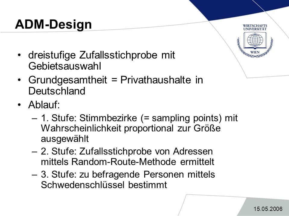 ADM-Design dreistufige Zufallsstichprobe mit Gebietsauswahl