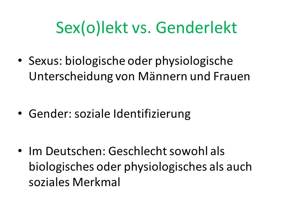 Sex(o)lekt vs. Genderlekt