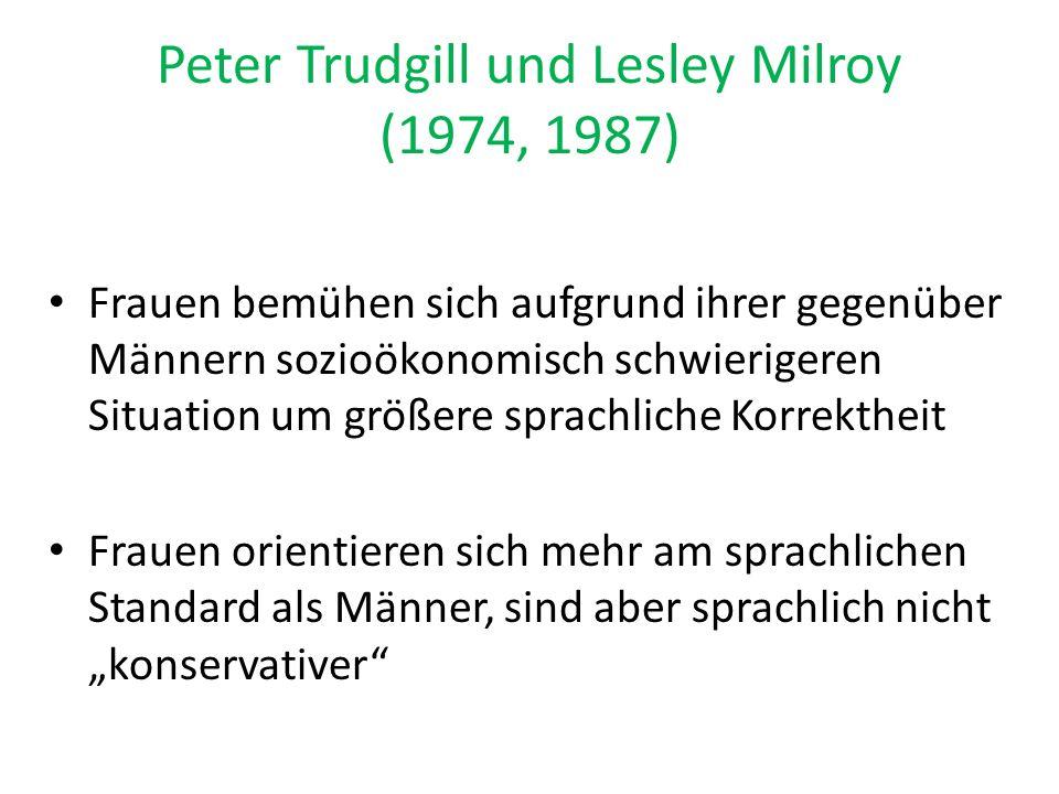 Peter Trudgill und Lesley Milroy (1974, 1987)