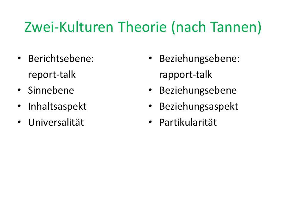 Zwei-Kulturen Theorie (nach Tannen)