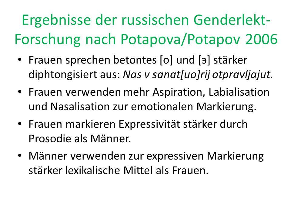 Ergebnisse der russischen Genderlekt-Forschung nach Potapova/Potapov 2006
