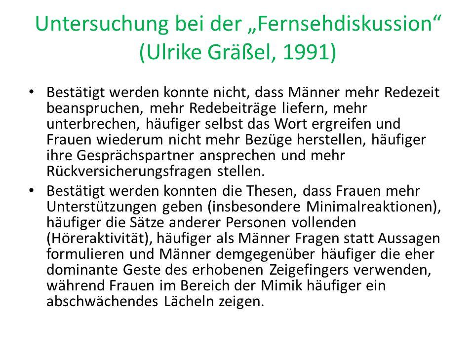 """Untersuchung bei der """"Fernsehdiskussion (Ulrike Gräßel, 1991)"""