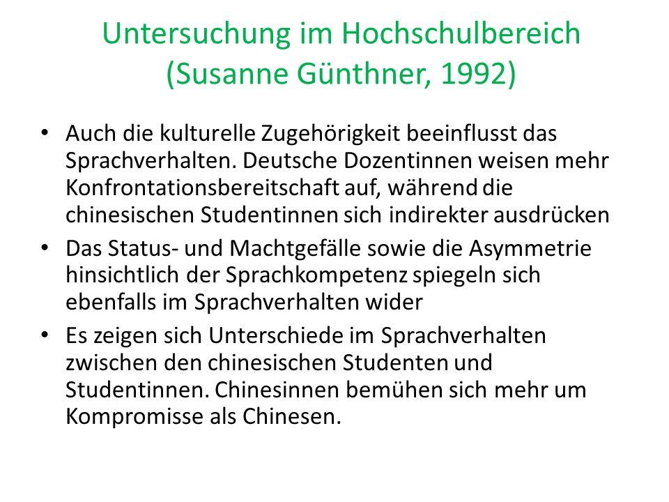 Untersuchung im Hochschulbereich (Susanne Günthner, 1992)