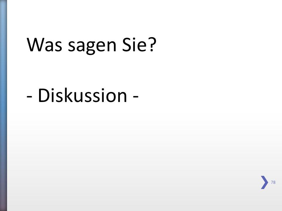 Was sagen Sie - Diskussion -