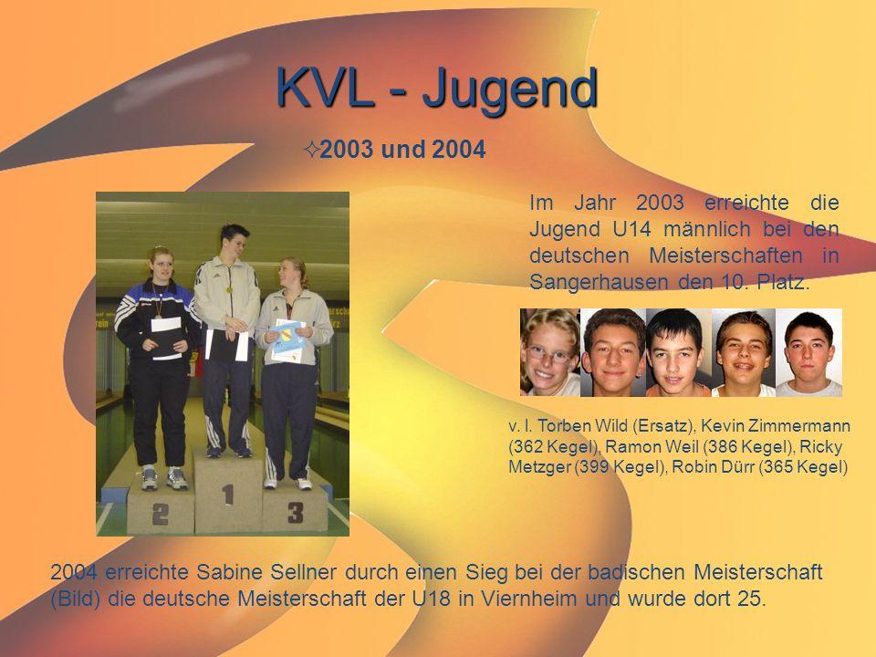 KVL - Jugend 2003 und 2004. Im Jahr 2003 erreichte die Jugend U14 männlich bei den deutschen Meisterschaften in Sangerhausen den 10. Platz.